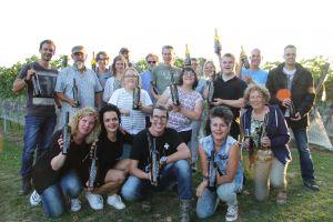 De trotse zilveren prijswinnaars. Chapeau voor deze wijnboeren pur sang uit het Limburgse Beringe.